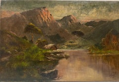 Antique Scottish Highlands Oil Painting Sunset Loch landscape with Mountains