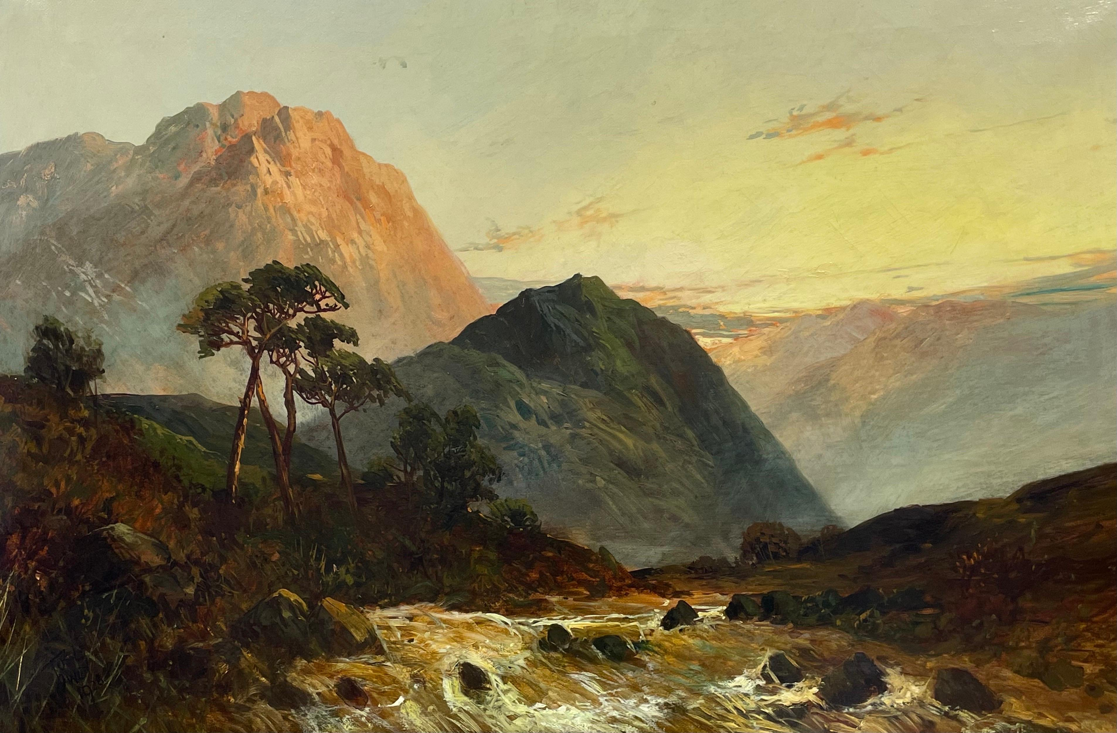 Antique Scottish Highlands Oil Painting Sunset River Landscape with Mountains