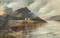 Antique Scottish Highlands Signed Oil Painting Loch Achray Trossachs Hotel