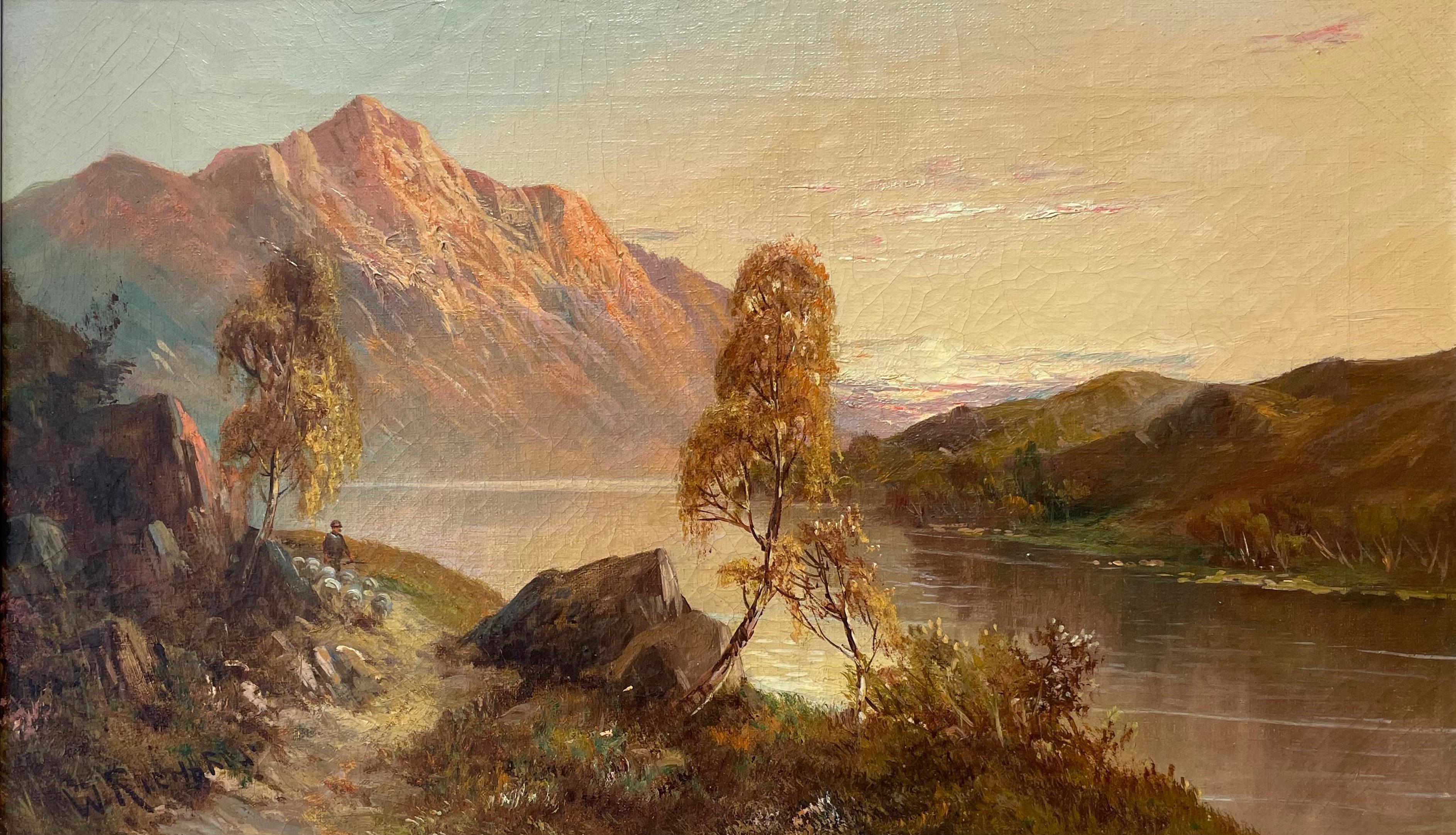 Antique Scottish Highlands Signed Oil Painting Shepherd & Sheep Sunset Loch