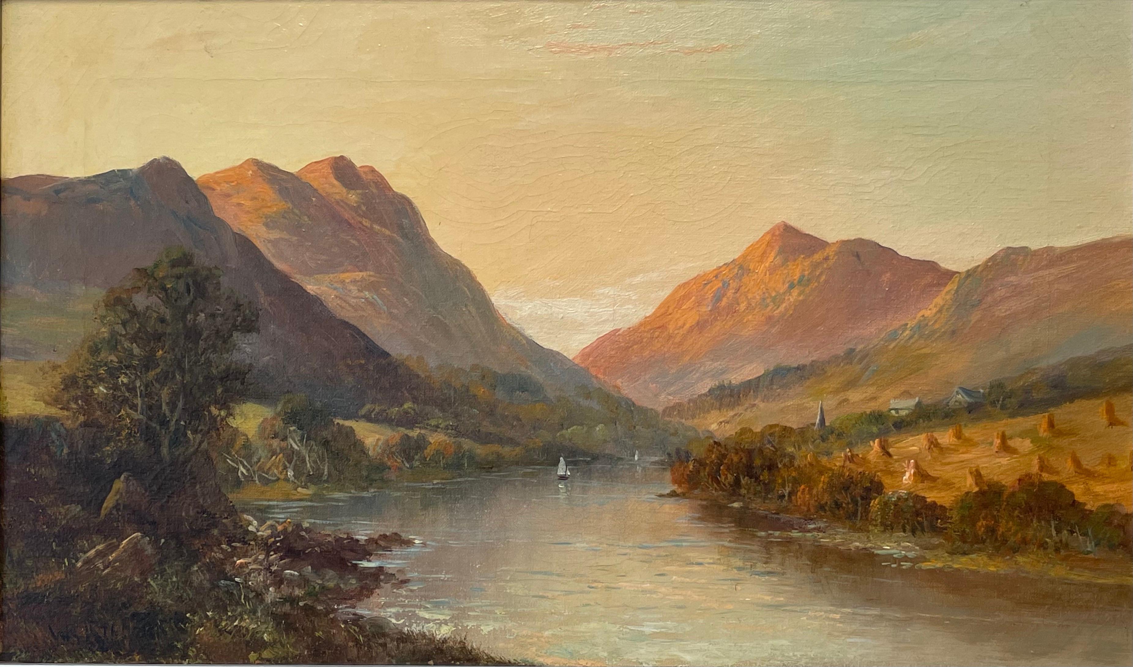 Antique Scottish Highlands Signed Oil Painting Summer Loch Sunset Harvest Field