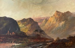 Antique Scottish Highlands Signed Oil Painting Sunset Sheep Pitlochry Perthshire