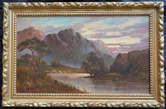 Antique Scottish Oil Painting Sunset GLENCOE