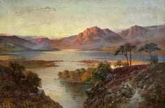 Antique Scottish Oil Painting Sunset Loch Tay