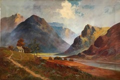Antique Scottish Oil Painting Sunset Pitlochry