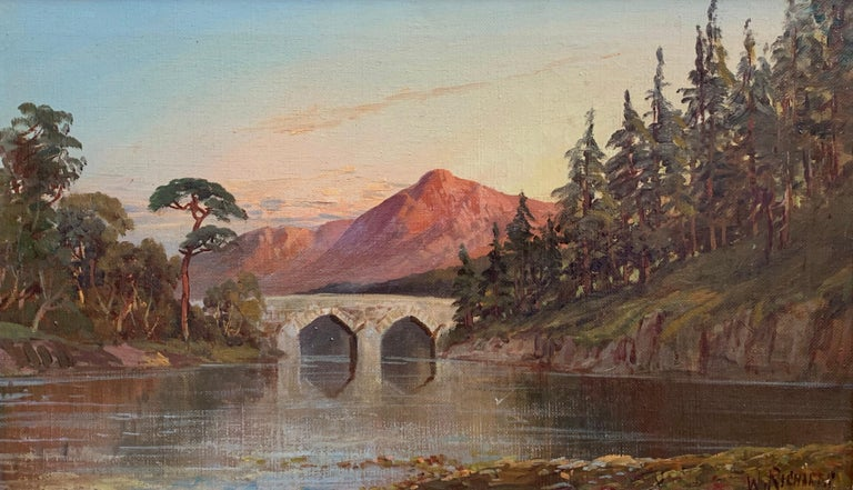 Antique Scottish Oil Painting Sunset Pitlochry Perthshire - Brown Landscape Painting by Francis E. Jamieson