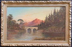 Antique Scottish Oil Painting Sunset Pitlochry Perthshire