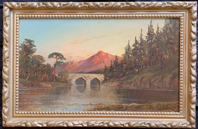 Francis E. Jamieson Landscape Painting - Antique Scottish Oil Painting Sunset Pitlochry Perthshire
