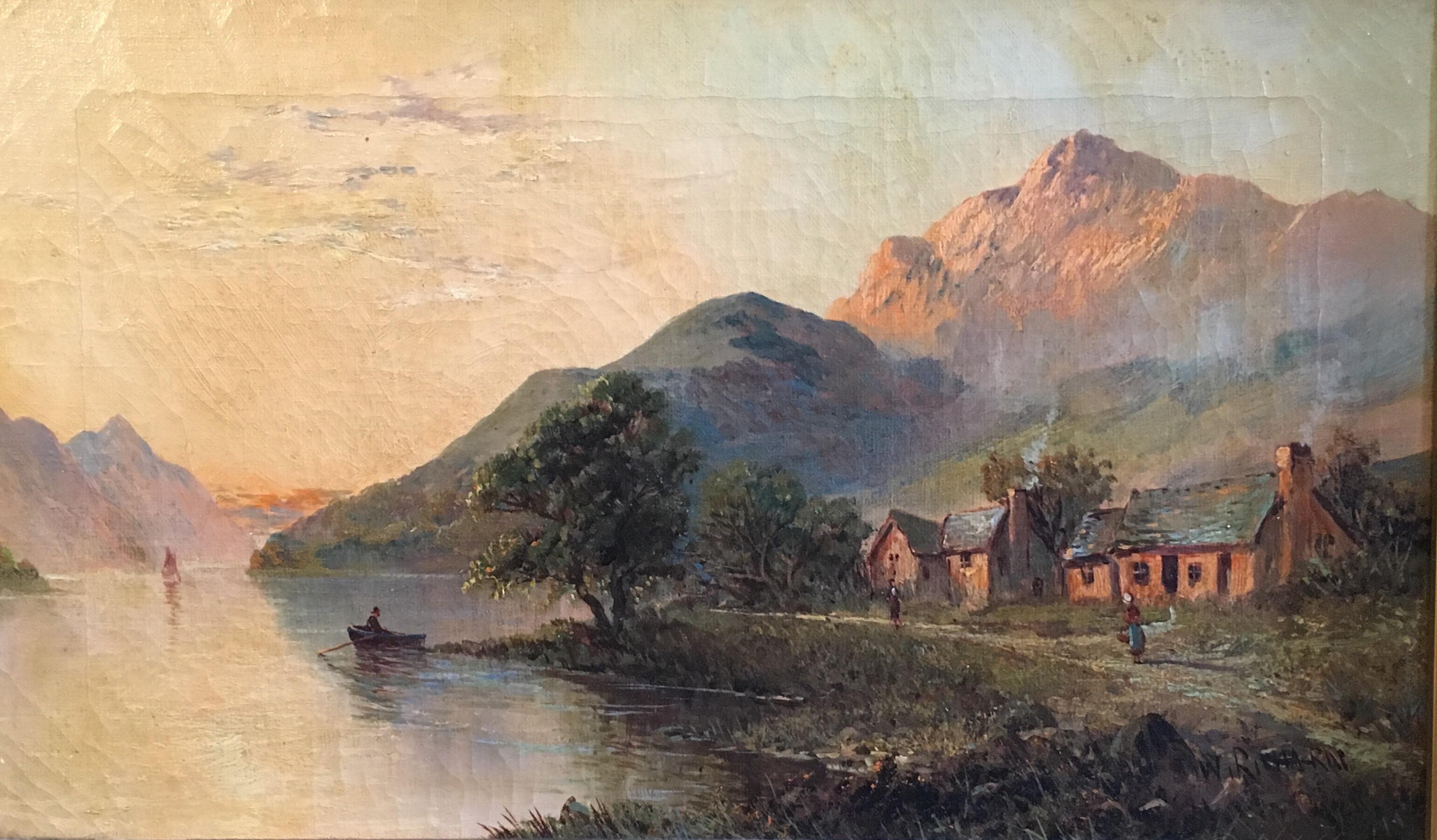 Glen Ogle, Lochearnhead, Antique Scottish Oil Painting Sunset, Signed