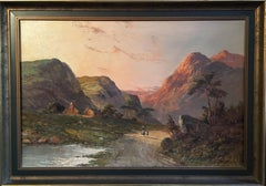 Hazy Sun on the Mountains, Scottish Glen 'Glen Coe' Signed Oil
