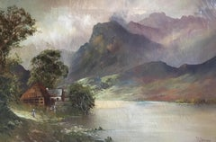 Lady by the Loch, Fine Antique Scottish Highlands Oil Painting on Canvas