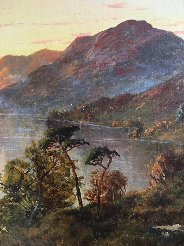 Loch Lomond Antique Scottish Oil Painting Sunset, Signed For Sale 1
