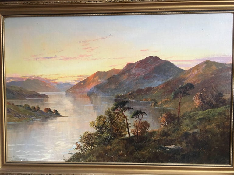 Loch Lomond Antique Scottish Oil Painting Sunset, Signed For Sale 2