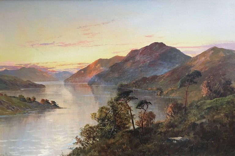 Francis E. Jamieson Landscape Painting - Loch Lomond Antique Scottish Oil Painting Sunset, Signed