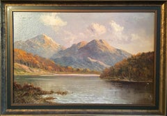 Loch Ness Scottish Highlands, Antique Oil Painting on canvas