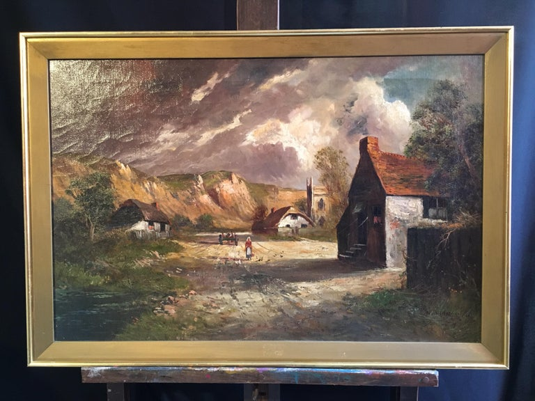 Scottish Cliffside, Antique Oil Painting, Signed - Gray Still-Life Painting by Francis E. Jamieson