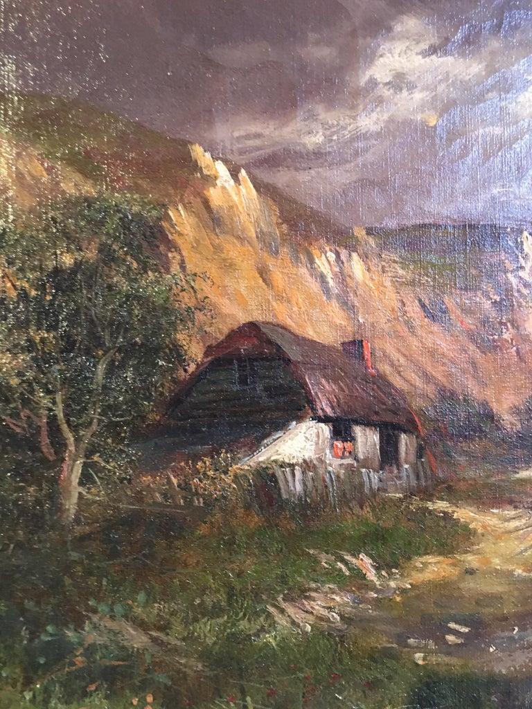 Scottish Cliffside, Antique Oil Painting, Signed For Sale 3