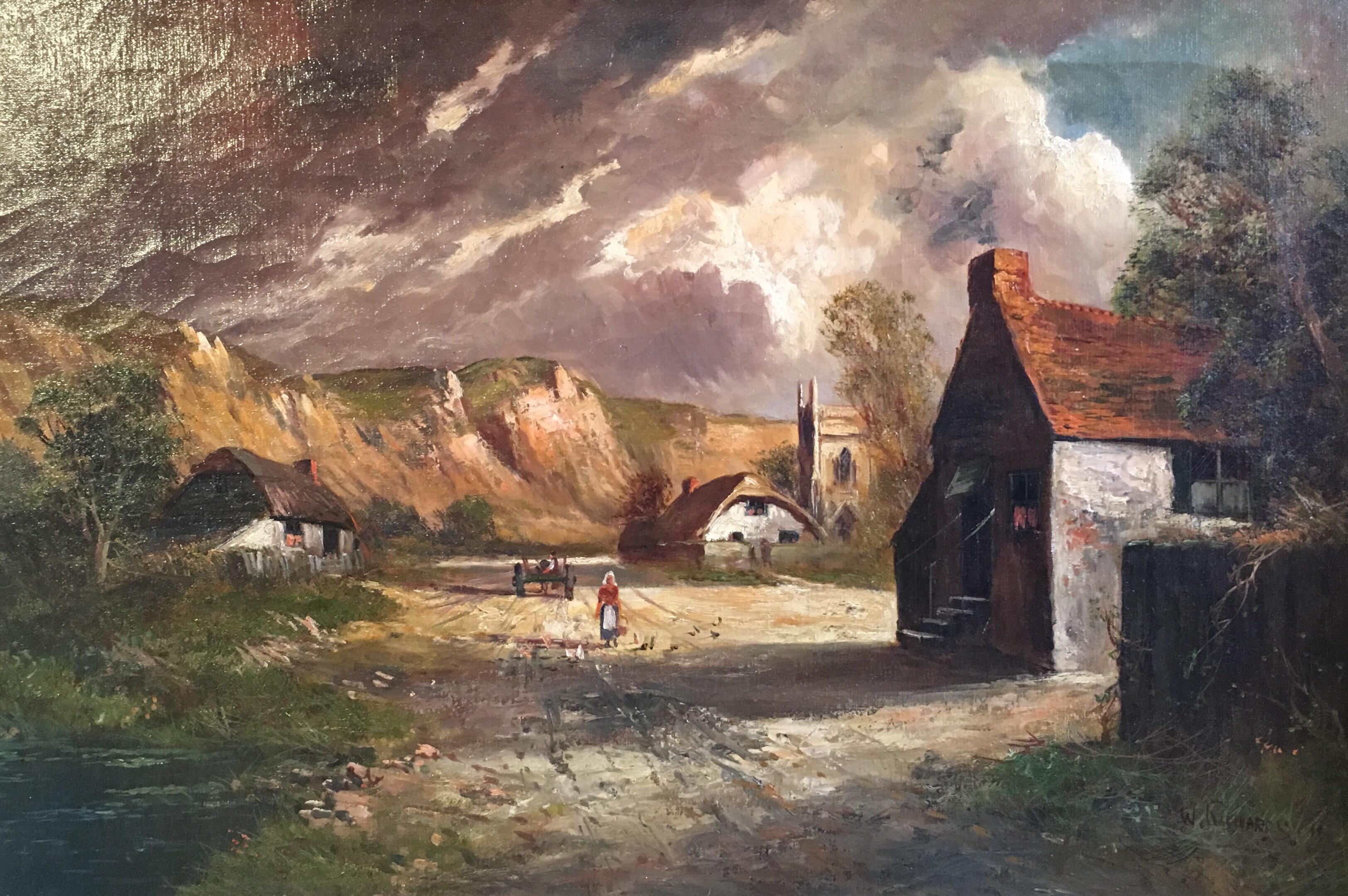 Scottish Cliffside, Antique Oil Painting, Signed