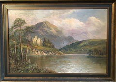 Scottish Highlands Loch Scene with Ancient Castle, signed antique oil painting