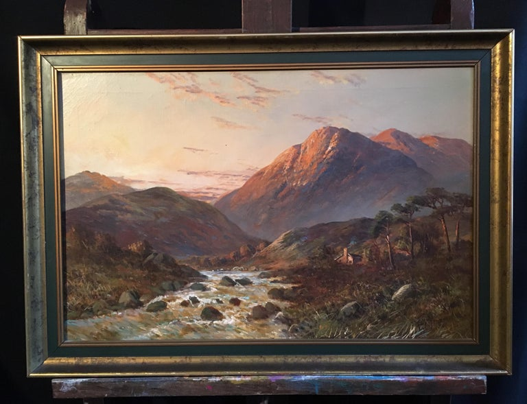 Sunset over Scottish Highlands 'Allan Waters', signed oil painting - Painting by Francis E. Jamieson