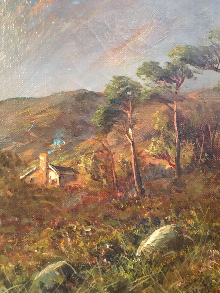 Sunset over Scottish Highlands 'Allan Waters', signed oil painting - Black Landscape Painting by Francis E. Jamieson