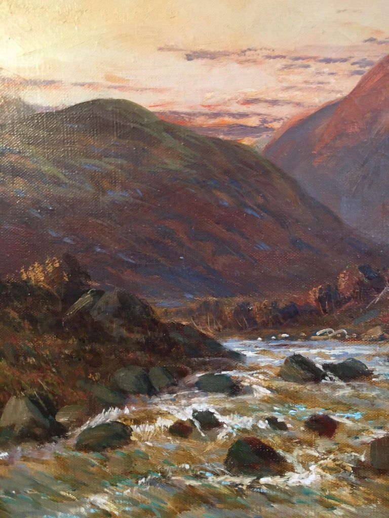 Sunset over the Highlands, 'Allan Waters' by F. E. Jamieson (British 1895-1950) signed, lower corner & titled verso oil painting on canvas laid over board, framed canvas: 16 x 24 inches framed: 19 x 27 inches  Fine quality antique oil painting by