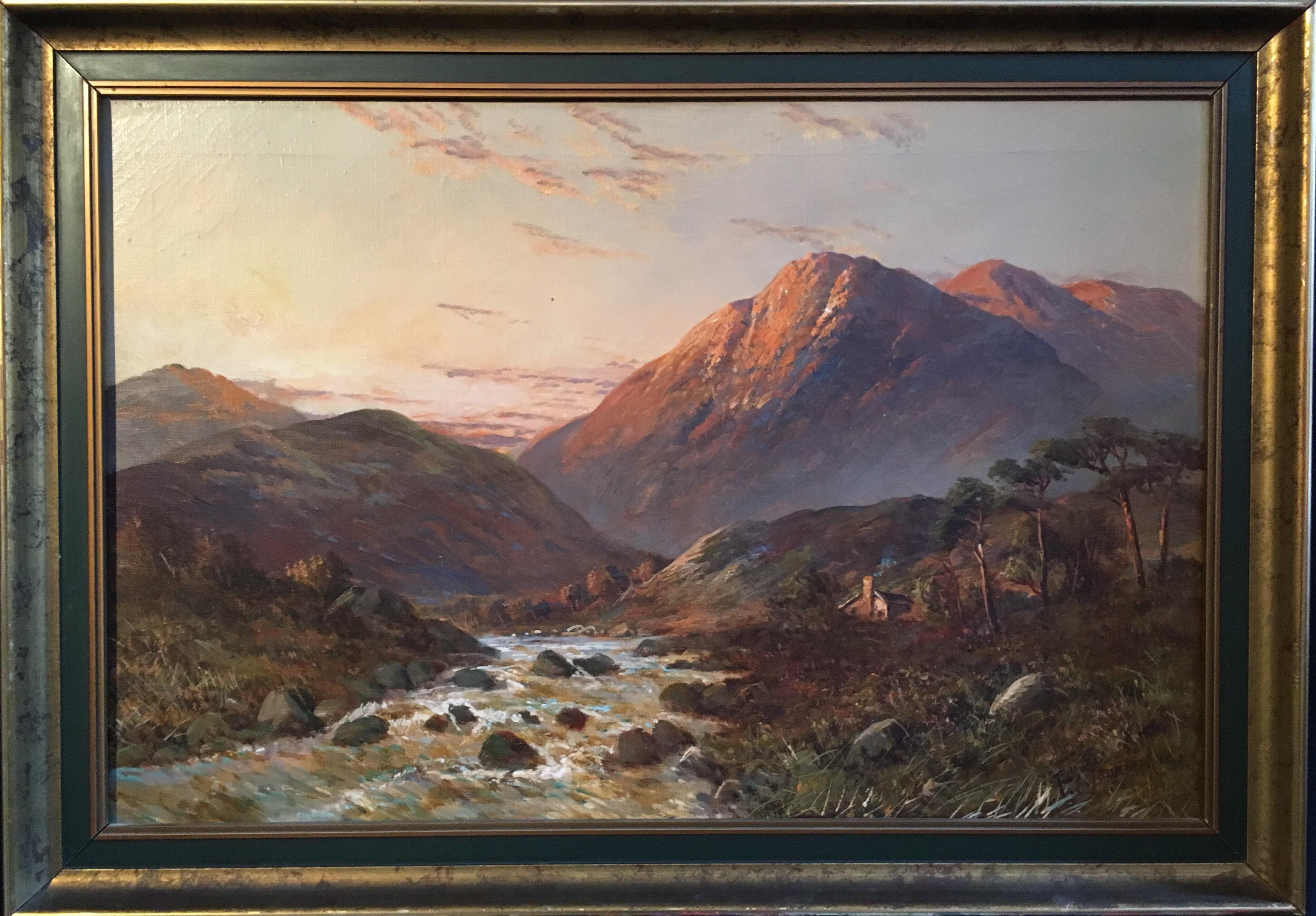 Sunset over Scottish Highlands 'Allan Waters', signed oil painting
