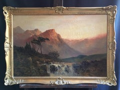 Waterfall at Sunset, Scottish Highlands Antique Oil Painting