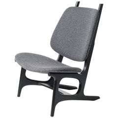 Francis Easy Chair with Black Frame and Wool Upholstery