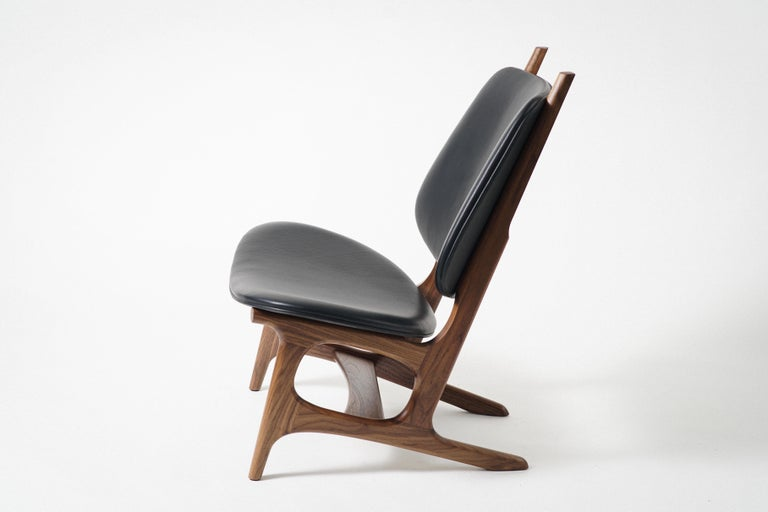 Modern Francis Easy Chair with Walnut Frame and Leather Upholstery For Sale