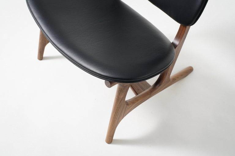 American Francis Easy Chair with Walnut Frame and Leather Upholstery For Sale