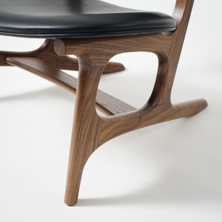 Joinery Francis Easy Chair with Walnut Frame and Leather Upholstery For Sale