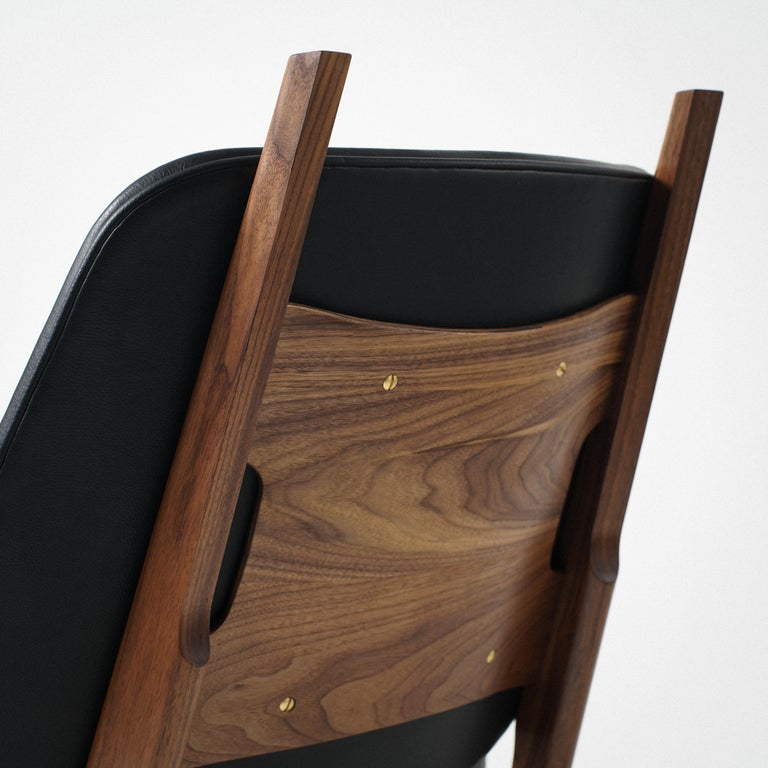 Contemporary Francis Easy Chair with Walnut Frame and Leather Upholstery For Sale