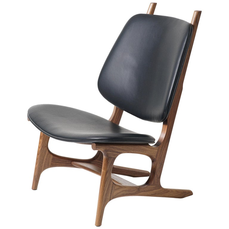 Francis Easy Chair with Walnut Frame and Leather Upholstery For Sale