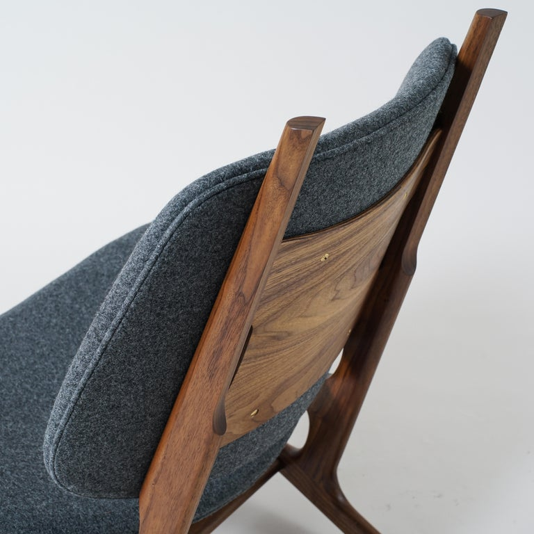 American Francis Easy Chair with Walnut Frame and Wool Upholstery For Sale