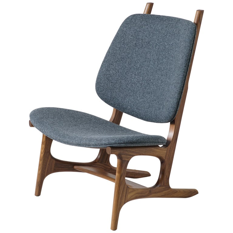 Francis Easy Chair with Walnut Frame and Wool Upholstery For Sale