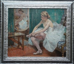 Ballerina in Dressing Room - British 40's exhib art ballet portrait oil painting