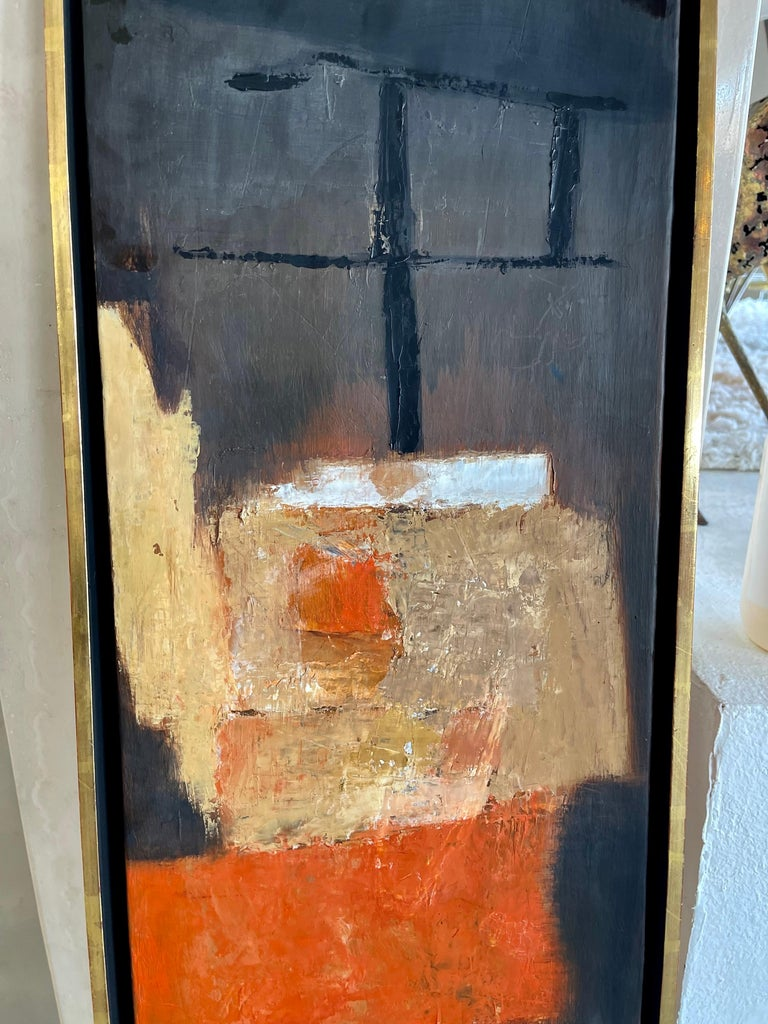 A wonderful abstract by Francis Field Monogrammed and dated 1958. In a period frame with a Stuttman Gallery paper label on the back. Nice composition. Painting is on wood panel. The frame has a gilt edge with some rub marks and spots of touch up.