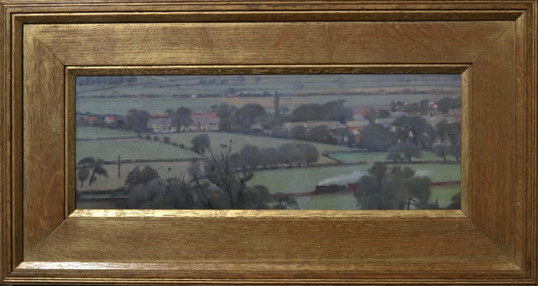 View from Pool Bank - 20th Century Yorkshire landscape oil painting - Painting by Francis Helps