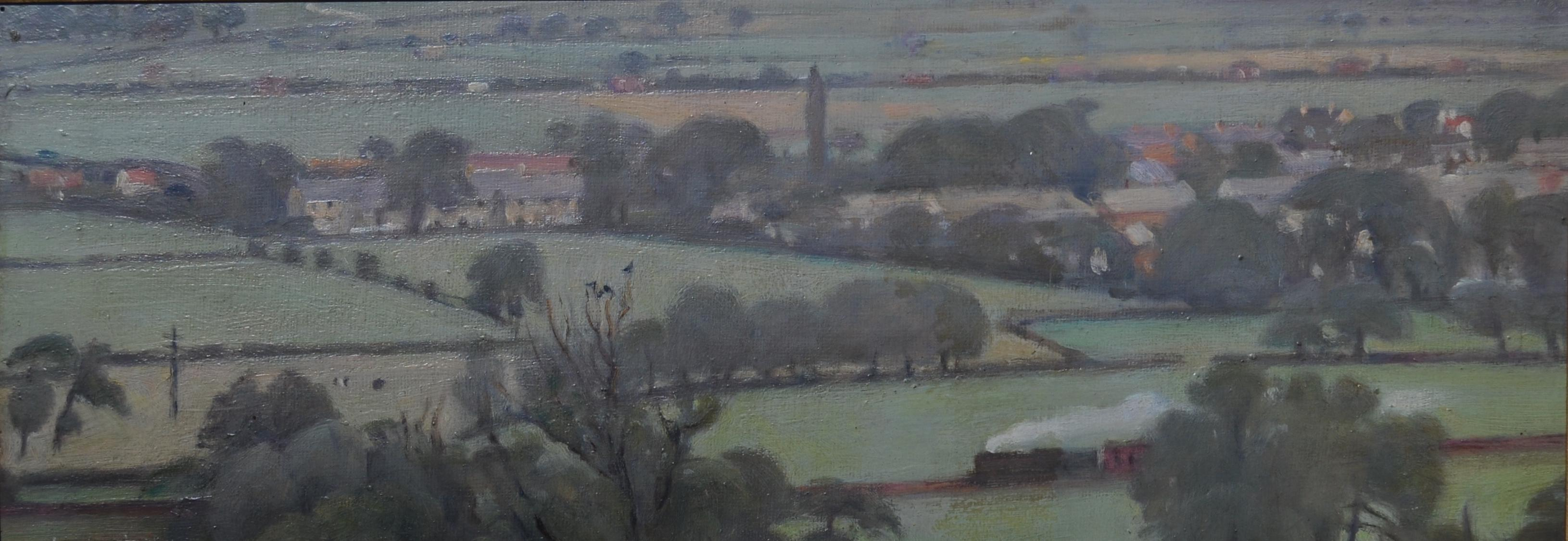 View from Pool Bank - 20th Century Yorkshire landscape oil painting