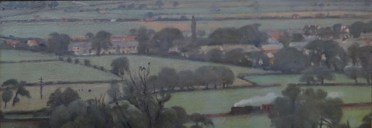 Francis Helps Landscape Painting - View from Pool Bank - 20th Century Yorkshire landscape oil painting