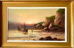 Antique oil painting of fishing boats on a beach at Sunset, landscape, English