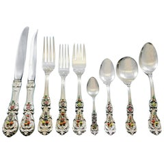 Francis I Reed & Barton Sterling Silver Flatware Set Service 119 Pieces Enameled