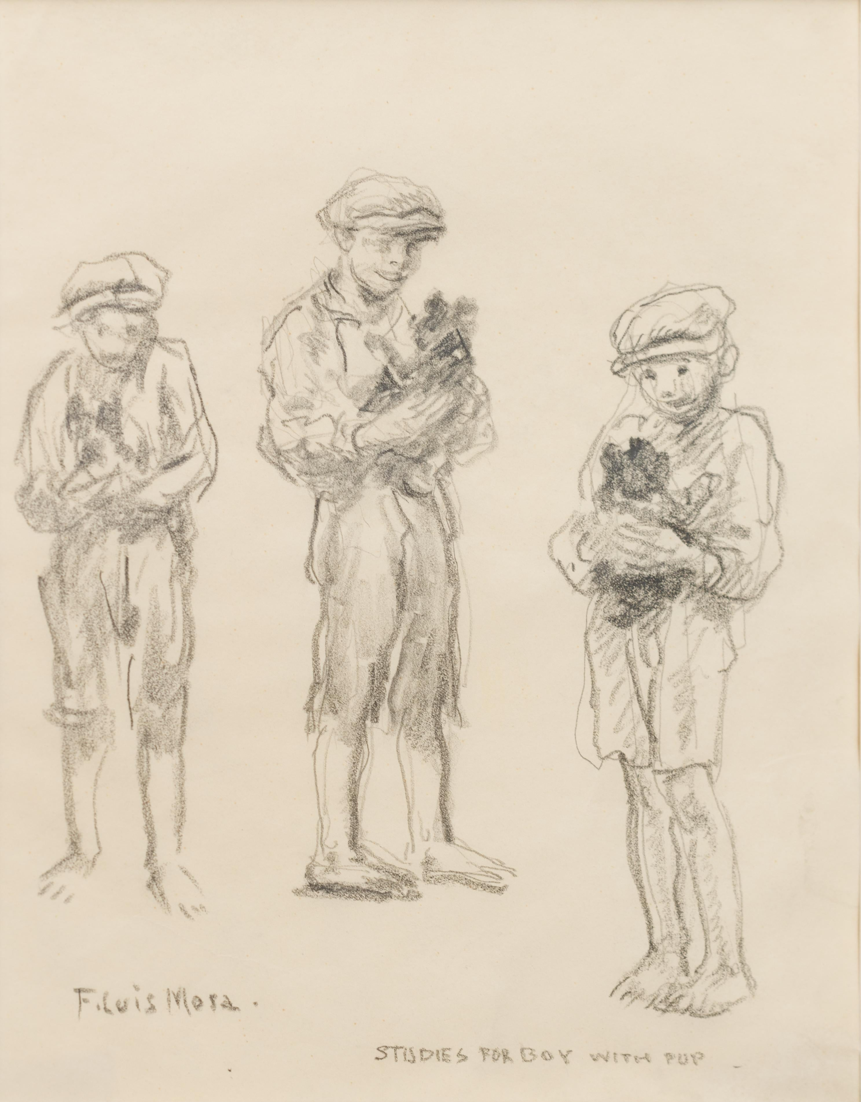 Sketch For Boy with Pup, Vintage American Drawing of the Ash Can School