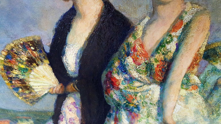 Spanish Souvenir- mantilla, peineta, by Francis Luis Mora is a painting of beautiful Spanish women in traditional dress with their entourage. It's is a museum-quality work. In fact,  it used to hang in the Palace of the Legion of Honor in San