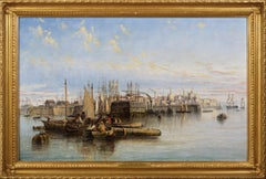19th Century seascape oil painting of ships & boats at the port of Hull
