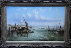 View on Thames Looking to Blackfriars Bridge - Italian 19thC art oil painting