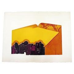 Francis Myers Orange Cityscsape 1966 Mid-Century Modern Serigraph Unframed
