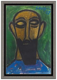 Francis Newton FN Souza Original Gouache Painting Signed Male Portrait RARE Art