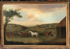 C18th Sartorius Oil Painting of Horses in a Landscape - Mares and Foals